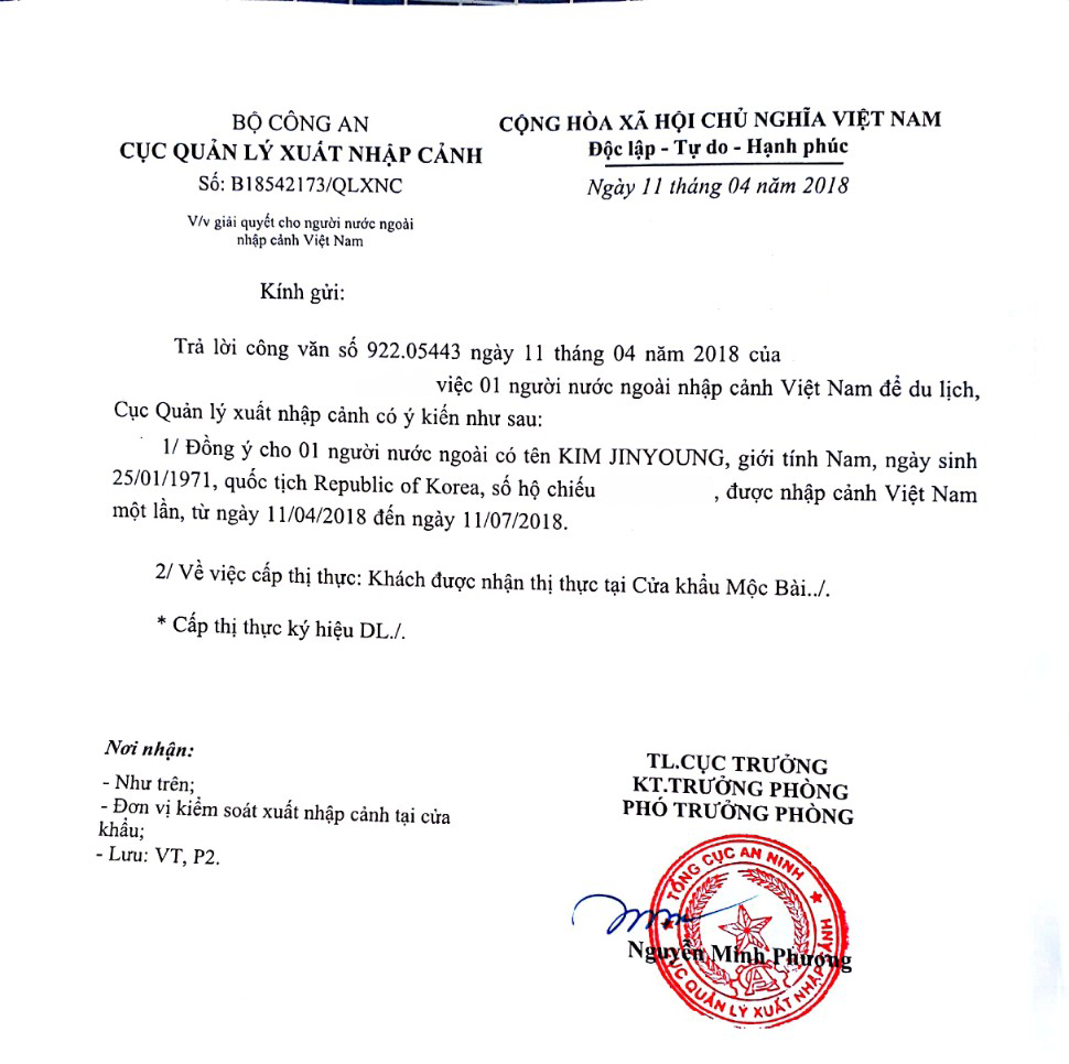 Công văn nhập cảnh du lịch (DL)